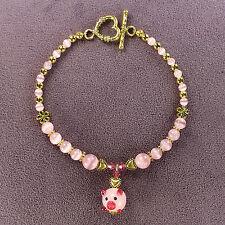PIG TOTEM BRACELET Piglet Piggy Pink Lampwork Gold Heart Animal Magick Wealth