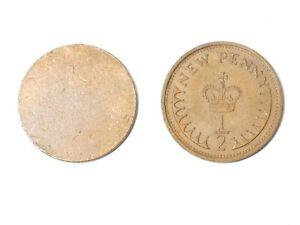 1974 British New 1/2 Half Penny Coin + Blank Planchet Royal Mint Error  #TS96