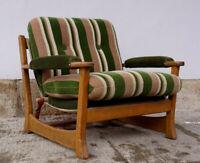 60er Vintage Sessel Retro Easy Chair Danish Eiche Wegner Ära Segeltuch Leder