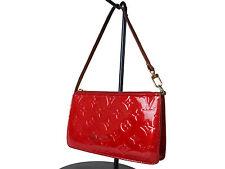 Authentic LOUIS VUITTON Lexington Patent Leather Red Pouch, Hand Bag LV12546L