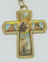Vintage Lucite Virgin Mary Jesus Cross Keychain Key Ring Gold Tone Flowers