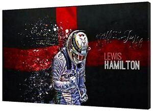 FORMULA 1 LEWIS HAMILTON FLAG ON FRAMED CANVAS  WALL ART HOME DECORATION