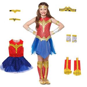 Girls Kids Childs Wonder Woman Fancy Dress Classic Costume DC Comic Superhero UK
