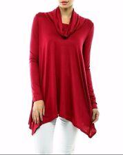 Women Cowl Turtleneck Loose Tunic Top Long Sleeve Asymmetrical Hem Shirt USA
