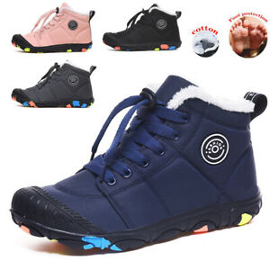 UK Ankle Boots Snow Boots Boys Girls Warm Fur Lined Kids Winter Trainers Shoes