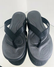 Crocs Dual Comfort Leather & Rubber Sandals Size - 5 Black