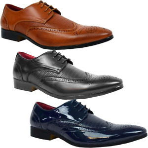 Lace Up Leather Brogues Designer Formal Shoes Mens Size