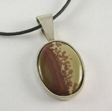 Picture Jasper Pendant Necklace .925 Sterling Silver Mens Jewelry Agate Stone