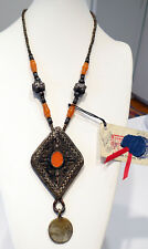 Circa 1800 Turkoman Silver Hadji Coin Amber Russian Ruble Prayer Beads Necklace