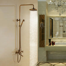 Antique Brass Bathroom Rainfall Shower Head Hand Held Spray Tub Mixer Faucet Set