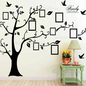 Huge Family Tree Wall Stickers Birds Photo Frames Art Decals Home Decor UKSeller