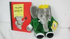 BABAR ELEPHANT PLUSH GUND WITH TAG AND BOOK
