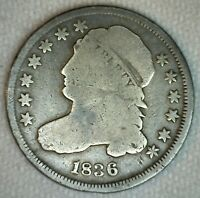 1836 Early Silver Dime 10c US Type Coin Good Capped Bust Silver Coin