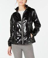 CALVIN KLEIN Womens Athleisure Black Track Jacket OUTERWEAR SZ XL  Shine Hooded