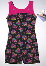 Nwt New Moret Tank Biketard Unitard Leotard Colorful Hearts Glitter Cute Girl