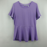 Isaac Mizrahi Live! Knit Peplum Top w/ Short Ruffle Sleeve Light Lilac S A303170