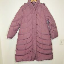 Vintage 1970s Long Mauve Quilted Goose Down Puffer Coat Women Large Parka Swan