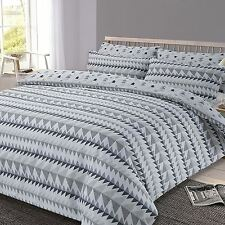 GREY REWIND GEOMETRIC KING SIZE DUVET COVER AND PILLOWCASE SET POLYCOTTON