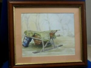 Original Watercolour Yacht Laid up for theWinter River Orwell Suffolk by V.Hills