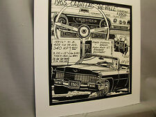 1965 Cadillac Deville    Auto Pen Ink Hand Drawn  Poster Automotive Museum
