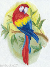 SCARLET MACAW IN WATERCOLOR SET OF 2 BATH HAND TOWELS EMBROIDERED  BY LAURA