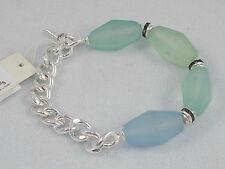 Kenneth Cole Silvertone Urban Sea Glass Faceted Green Blue Stretch Bracelet $45