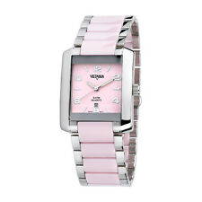 Brand New Vetania Pink Ceramic & Stainless Steel Swiss Quartz Ladies Watch
