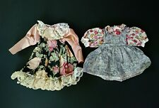 Set of 2 Vintage Hand Made Doll Party Dresses Stonewall and Silky Floral