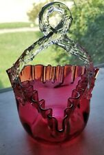 Victorian Art Glass Basket Cranberry Twisted Thorn Handle Excellent Condition