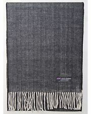 100% Cashmere Scarf Black Beige Tweed Flannel Check Plaid Soft Scotland Wool Men