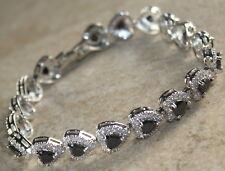 Silver Elegant Black Onyx & White Topaz Heart Bracelet WB23001
