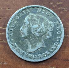 1865 Newfoundland Canada 5 Cent Silver Half Dime Coin Lot D52 READ DESCRIPTION