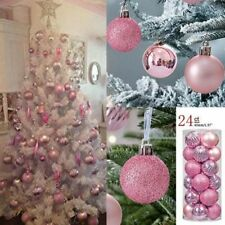 Christmas Ball Ornaments Shatterproof Tree 24pc Balls Pastel Holiday Pink Decor