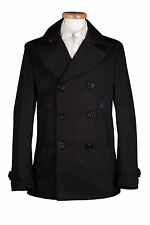 MENS NEW BLACK MILITARY REEFER COTTON PEA COAT JACKET 36 38 40 42 44 WAS £299