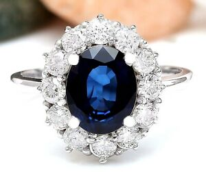 3.70 Carat Natural Sapphire 14K Solid White Gold Luxury Diamond Ring