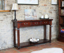 La Roque Premium Solid Mahogany Dark Wood Console Table With Drawers