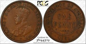Australia, 1931 Penny Indian obverse Aligned date PCGS XF45BN
