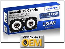 """Renault 19 Cabrio Rear Panel speakers Alpine 4"""" 10cm car speaker kit 180W Max"""