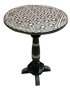 Mother Of Pearl Egyptian Corner Wood Oval Table Black End Coffee
