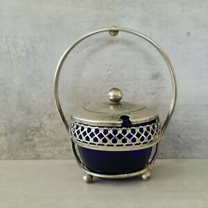 Vintage Silver Plated Sugar Bowl Cobalt Blue Glass Insert Lid Handle Ball Feet