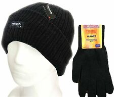 Mens Black Thermal Thinsulate Winter Hat and 'Handy' Thermal Gloves Set