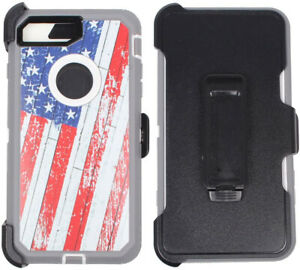 For iPhone 7 8 Heavy Duty Shockproof with Clip Phone Case Cover American Flag