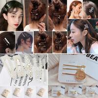 Girls Pearl Hair Clips Rhinestone Crystal Hairpin Barrette Slide Clip Grip Gifts