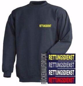 Rettungsdienst Sweat-Shirt / Pullover navy mit Brust- und Rückenaufdruck