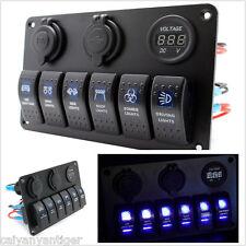6 Gang Car Marine Boat Electric LED Circuit Rocker Switch Control Pannel Breaker