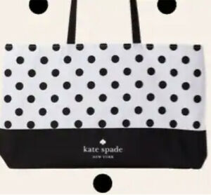NWT Kate Spade  New York Canvas Tote Large Black White New