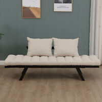 Convertible Adjustable 3-Position Sofa Bed Couch Chaise Lounge with Pillow
