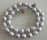 charme 10-11mm grau Reis Barock Süßwasser Perlenkette 18 Zoll Magnetverschluss