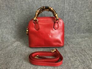 Authentic GUCCI Bamboo 2Way Shoulder Hand Bag Leather Red