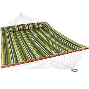 Sunnydaze 2-Person Quilted Spreader Bar Hammock Bed w/ Pillow - Melon Stripe